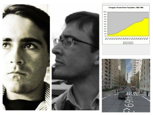 Left is my brother (left) and me (right). Right is graph of % of US that lives in cities (above) and intersection of East 69th and York (below)